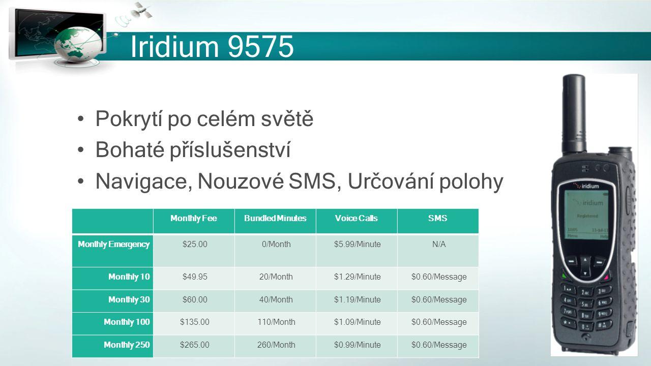 Iridium 9575 Pokrytí po celém světě Bohaté příslušenství