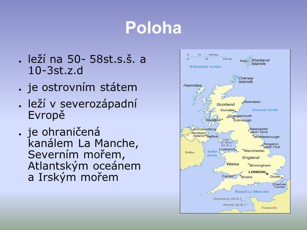 Poloha leží na 50- 58st.s.š. a 10-3st.z.d je ostrovním státem
