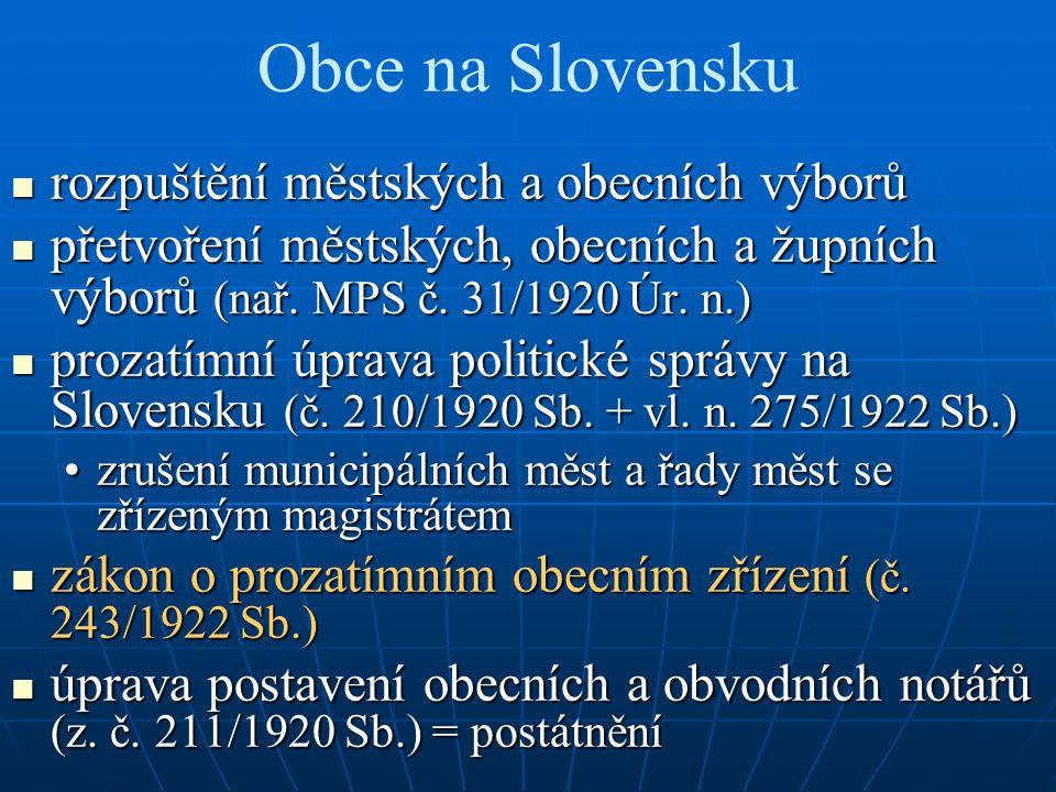 Obce na Slovensku rozpuštění městských a obecních výborů