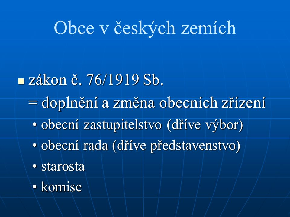 Obce v českých zemích zákon č. 76/1919 Sb.