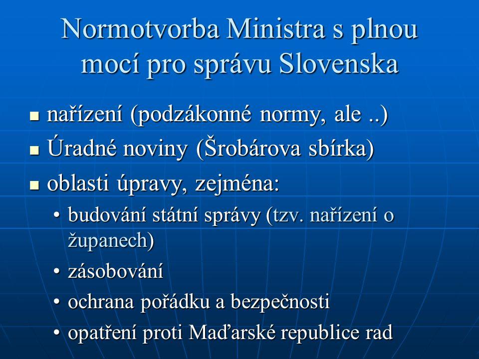Normotvorba Ministra s plnou mocí pro správu Slovenska
