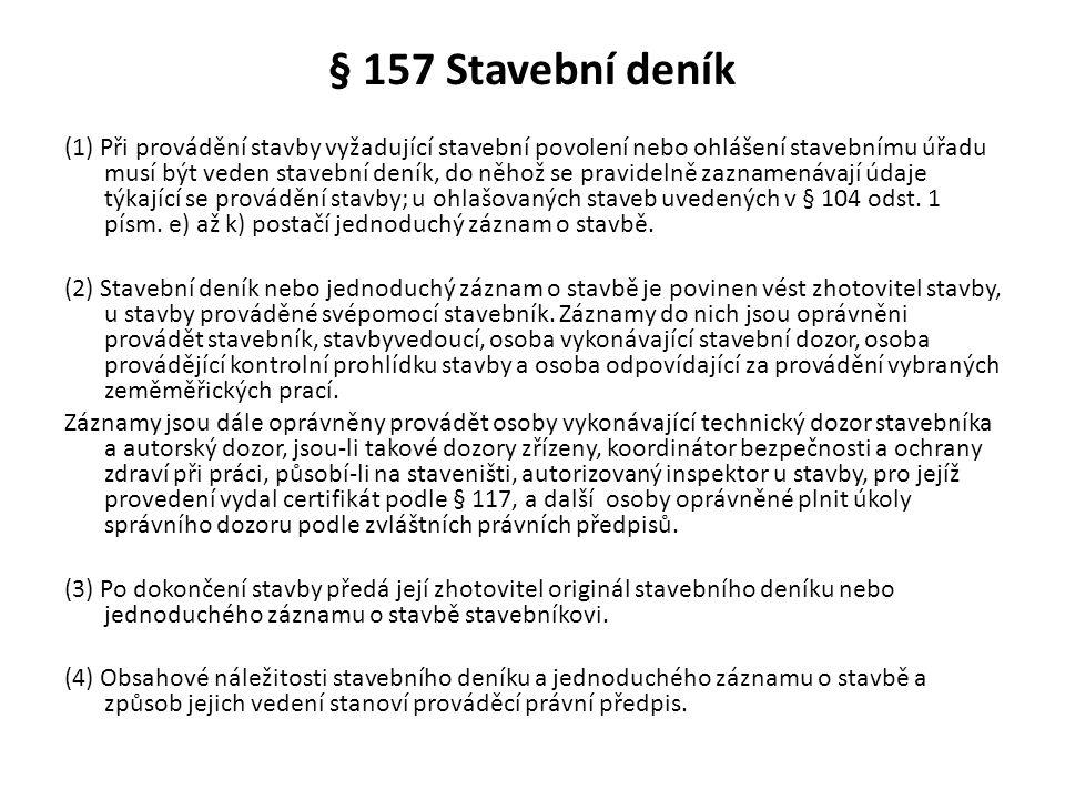 § 157 Stavební deník