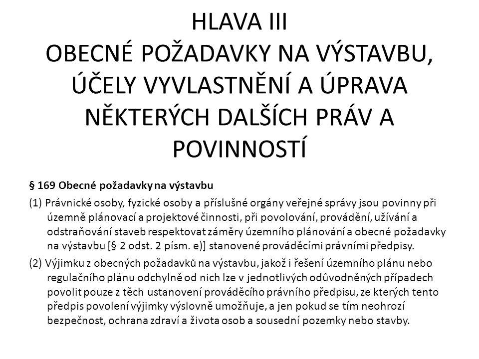 HLAVA III OBECNÉ POŽADAVKY NA VÝSTAVBU, ÚČELY VYVLASTNĚNÍ A ÚPRAVA NĚKTERÝCH DALŠÍCH PRÁV A POVINNOSTÍ