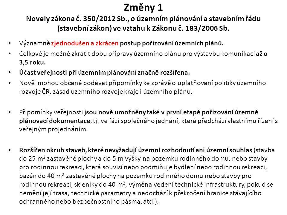 Změny 1 Novely zákona č. 350/2012 Sb