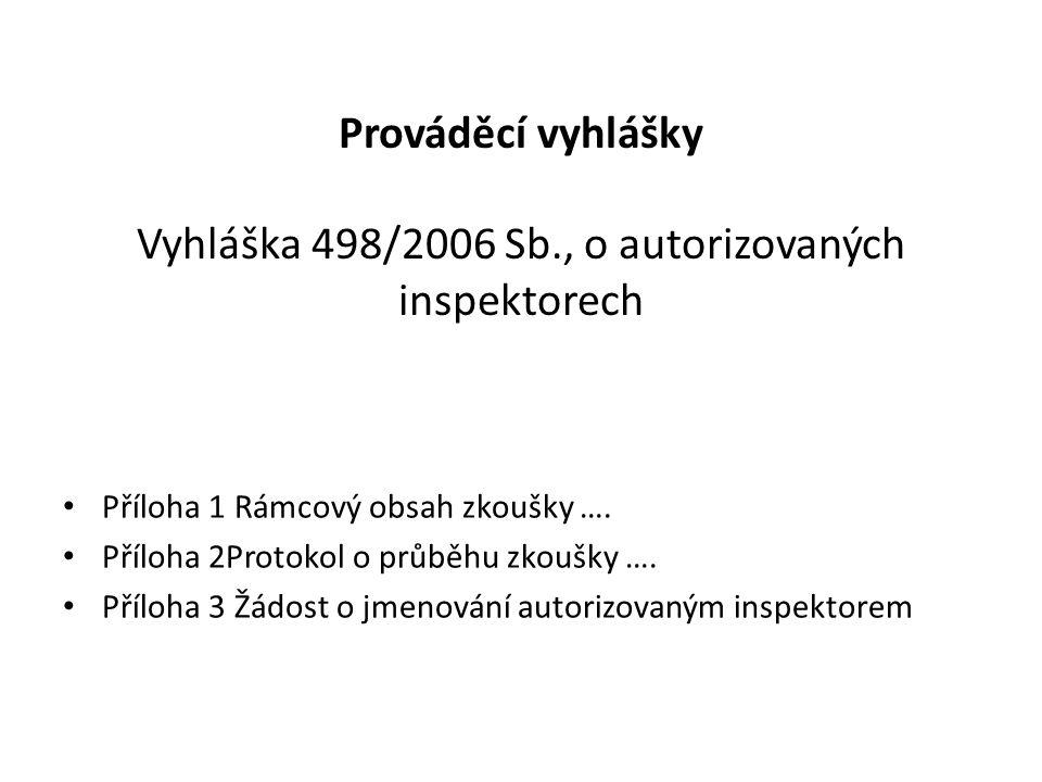 Prováděcí vyhlášky Vyhláška 498/2006 Sb