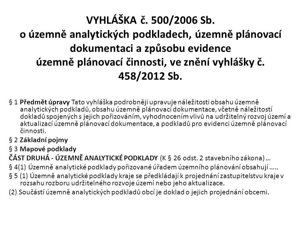 VYHLÁŠKA č. 500/2006 Sb. o územně analytických podkladech, územně plánovací dokumentaci a způsobu evidence územně plánovací činnosti, ve znění vyhlášky č. 458/2012 Sb.