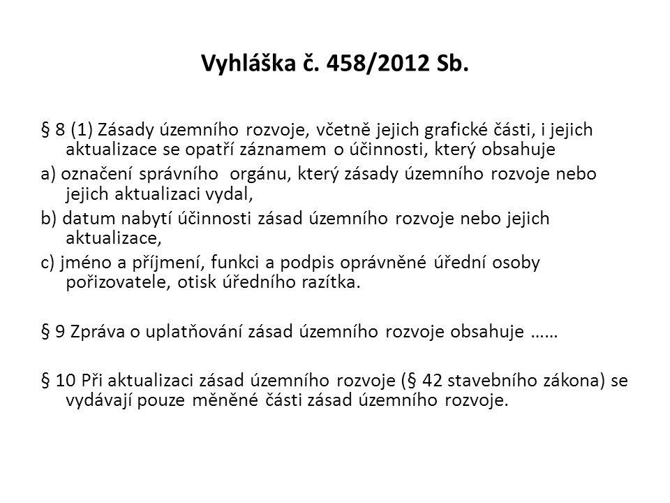 Vyhláška č. 458/2012 Sb.