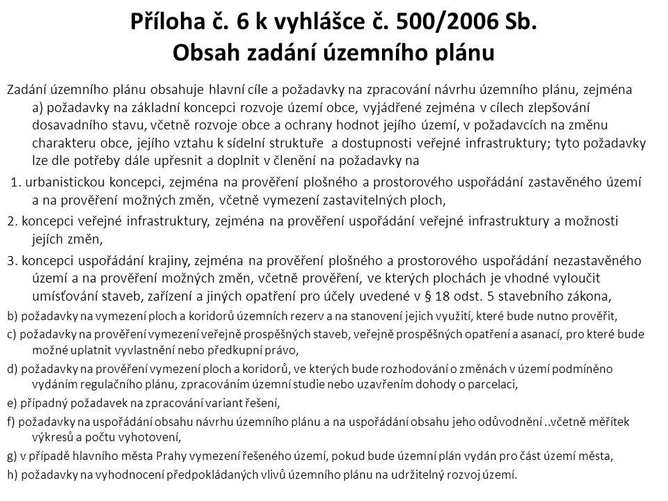 Příloha č. 6 k vyhlášce č. 500/2006 Sb. Obsah zadání územního plánu