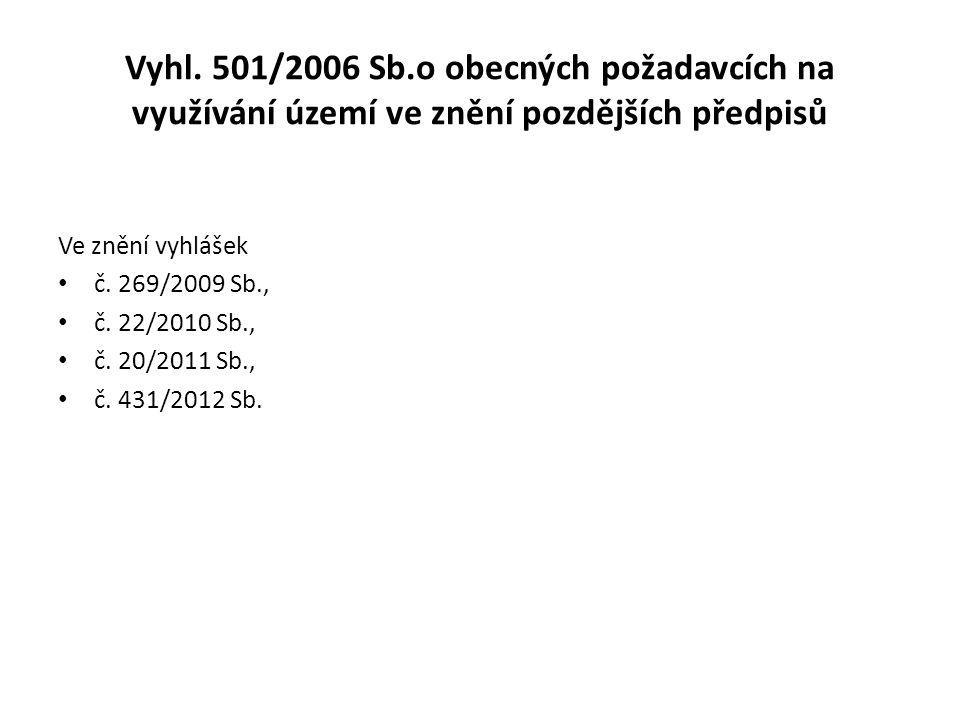Vyhl. 501/2006 Sb.o obecných požadavcích na využívání území ve znění pozdějších předpisů