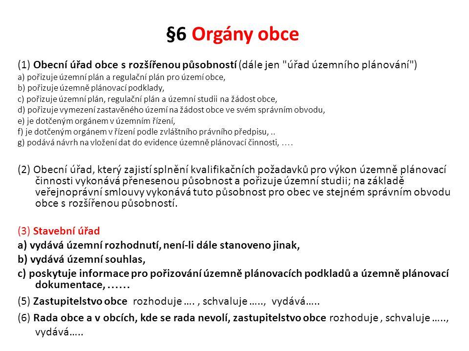 §6 Orgány obce (1) Obecní úřad obce s rozšířenou působností (dále jen úřad územního plánování )