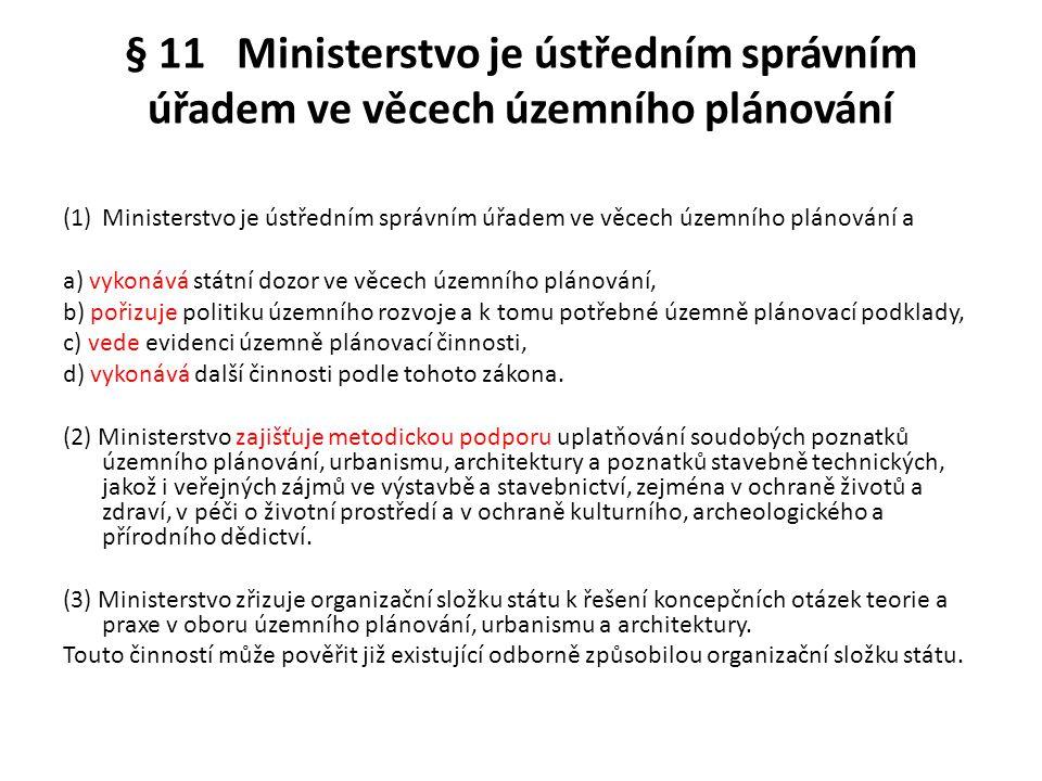 § 11 Ministerstvo je ústředním správním úřadem ve věcech územního plánování