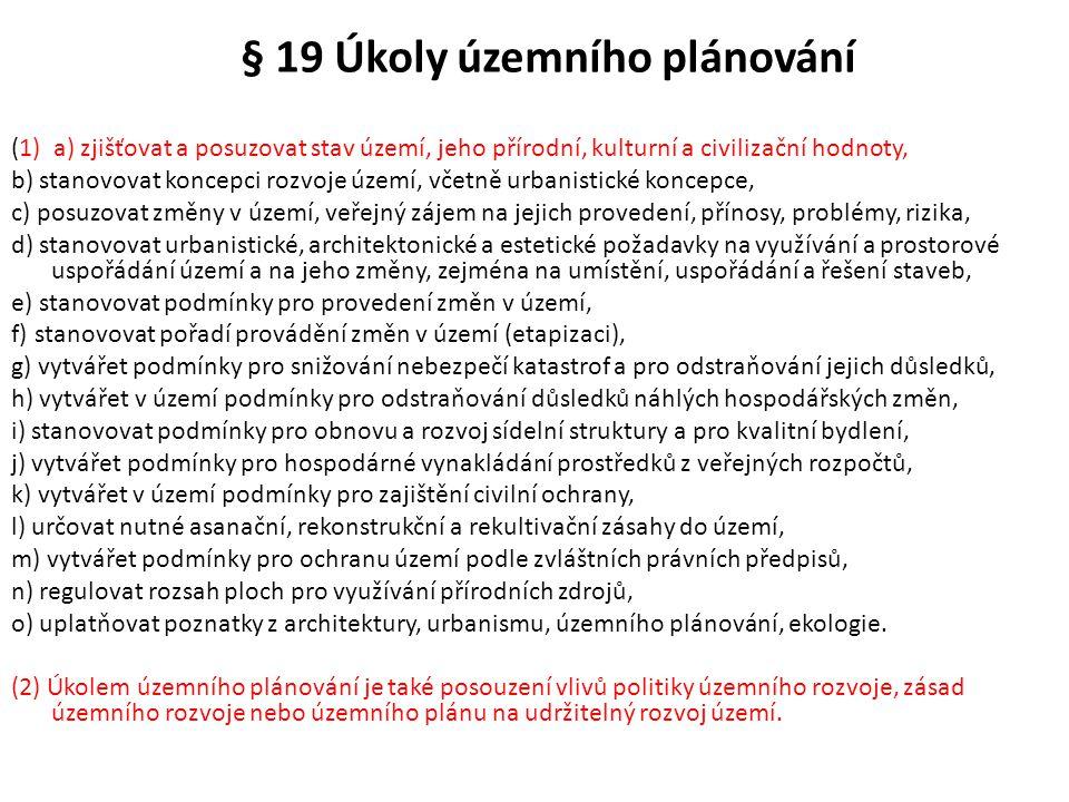 § 19 Úkoly územního plánování