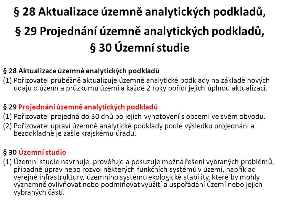 § 28 Aktualizace územně analytických podkladů, § 29 Projednání územně analytických podkladů, § 30 Územní studie