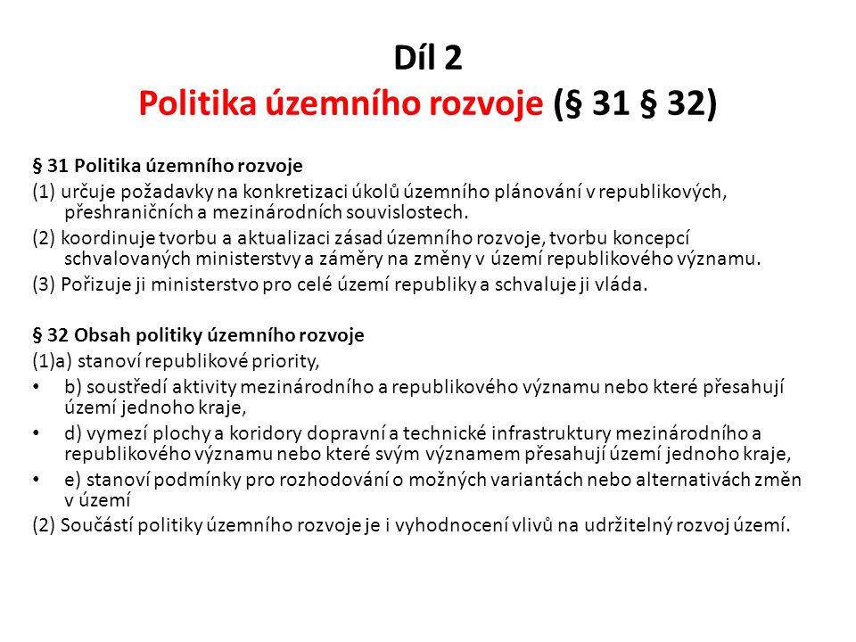 Díl 2 Politika územního rozvoje (§ 31 § 32)