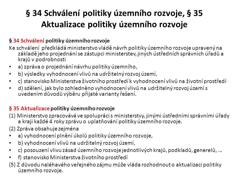 § 34 Schválení politiky územního rozvoje, § 35 Aktualizace politiky územního rozvoje