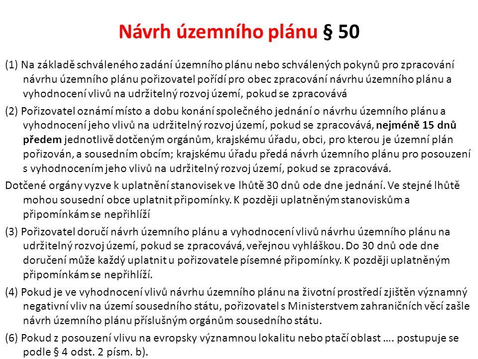 Návrh územního plánu § 50