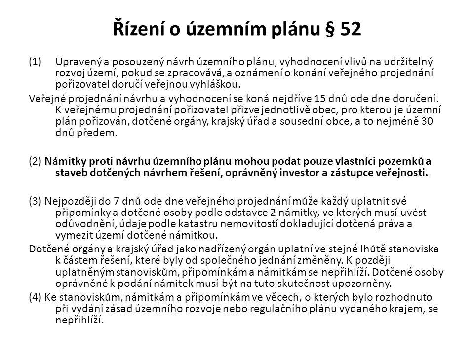 Řízení o územním plánu § 52