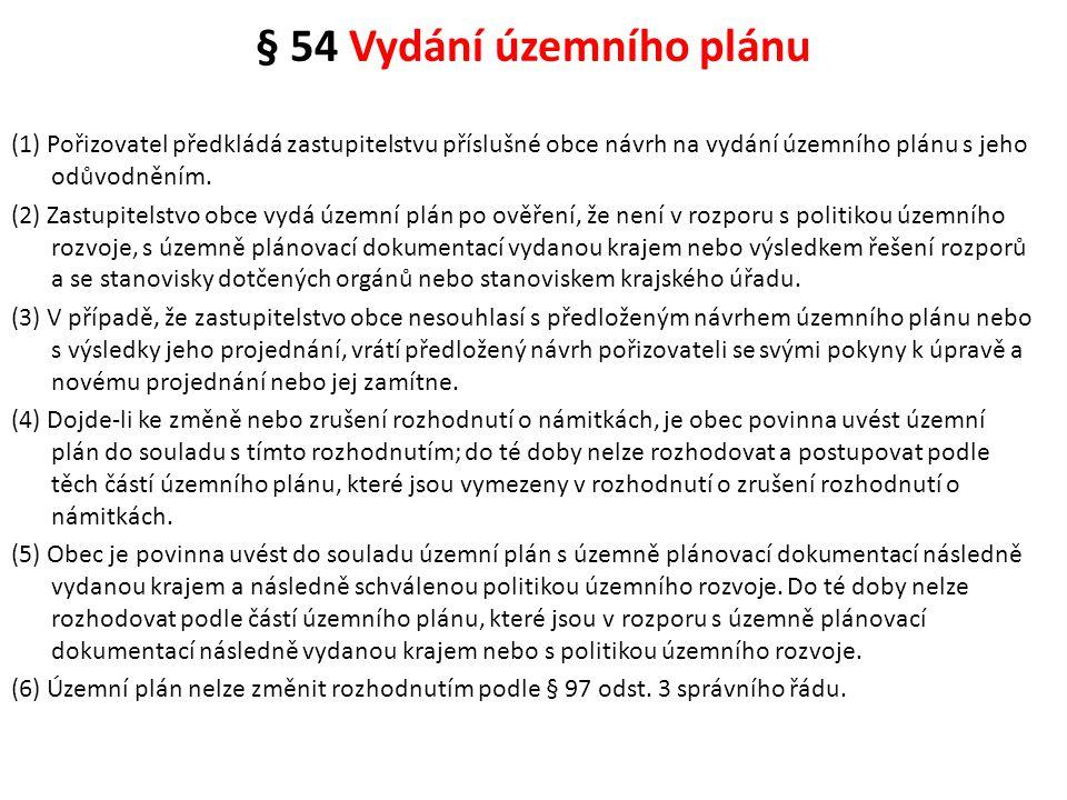 § 54 Vydání územního plánu