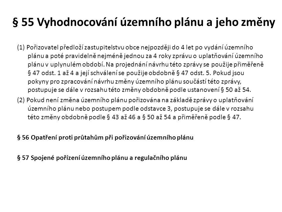 § 55 Vyhodnocování územního plánu a jeho změny