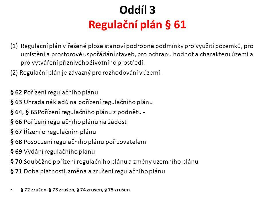 Oddíl 3 Regulační plán § 61
