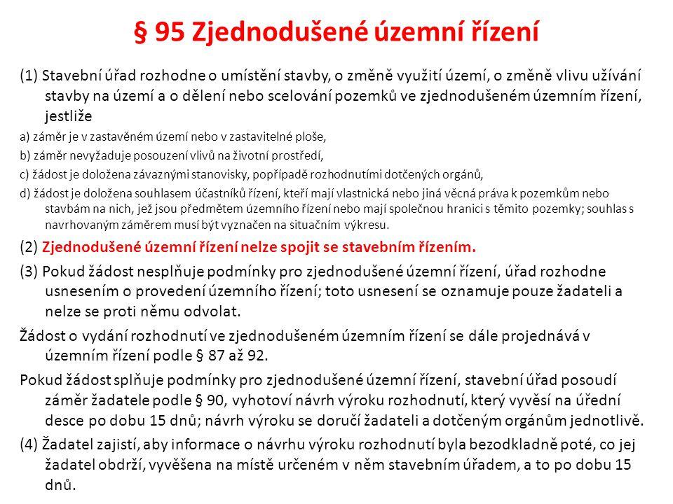 § 95 Zjednodušené územní řízení