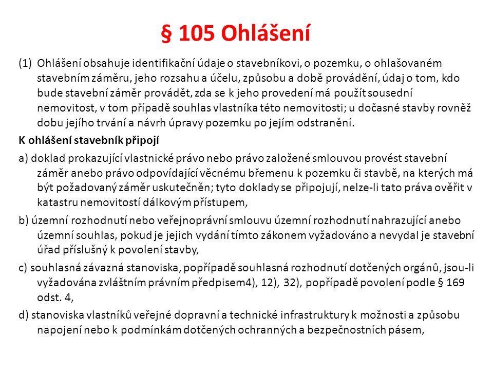 § 105 Ohlášení