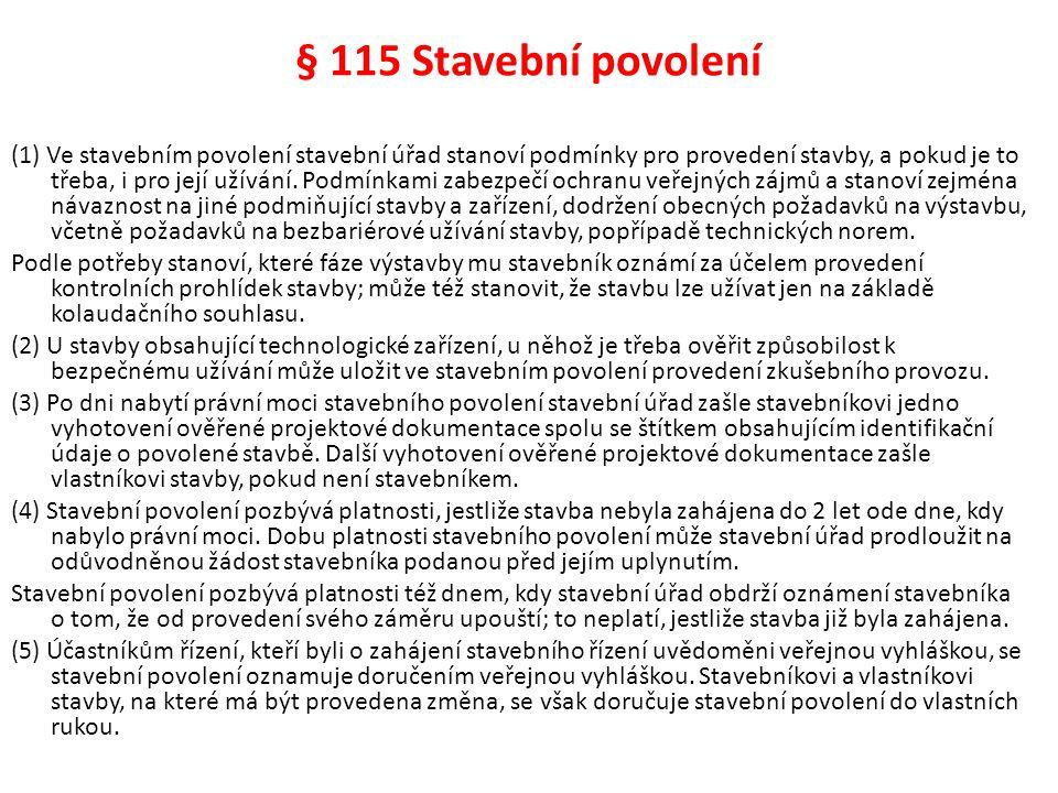 § 115 Stavební povolení