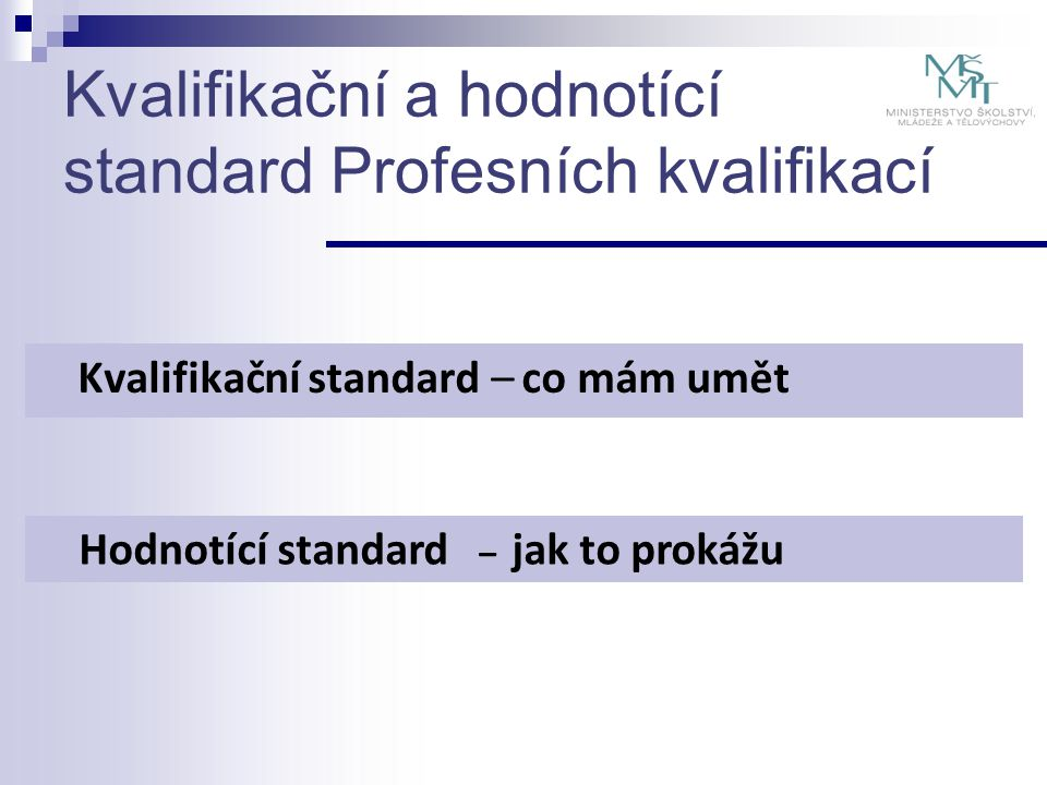 Kvalifikační a hodnotící standard Profesních kvalifikací