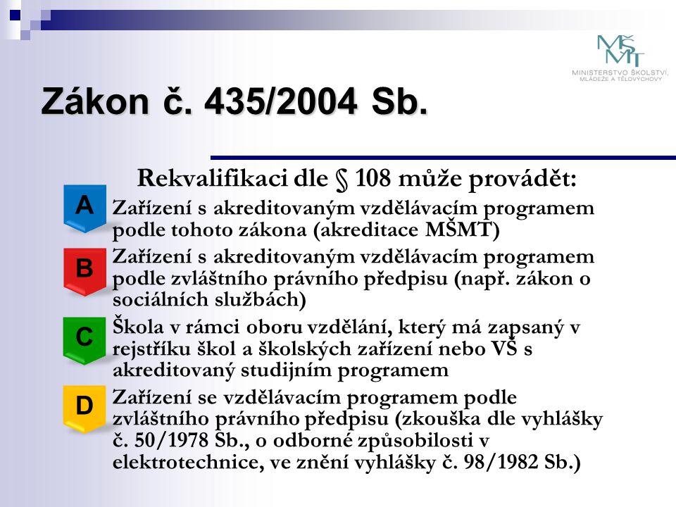 Zákon č. 435/2004 Sb. Rekvalifikaci dle § 108 může provádět: A B C D
