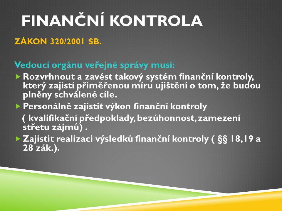 Finanční kontrola Vedoucí orgánu veřejné správy musí:
