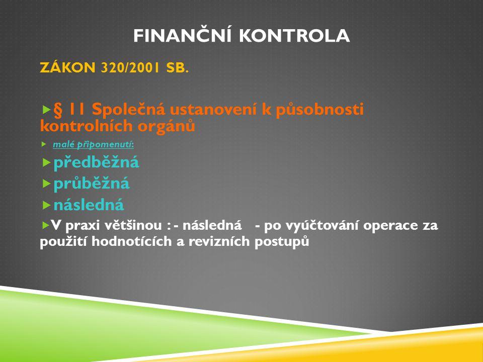 Finanční kontrola ZÁKON 320/2001 SB. § 11 Společná ustanovení k působnosti kontrolních orgánů. malé připomenutí: