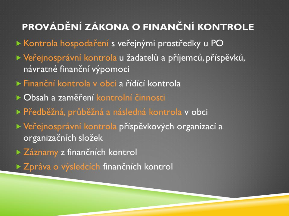 Provádění zákona o finanční kontrole