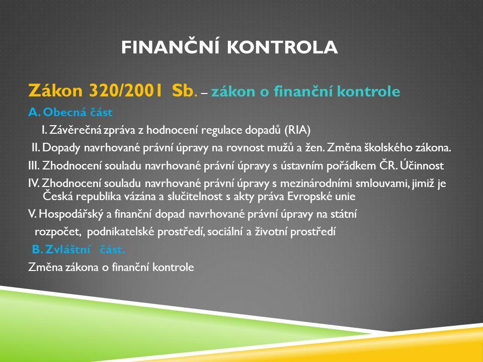 Zákon 320/2001 Sb. – zákon o finanční kontrole