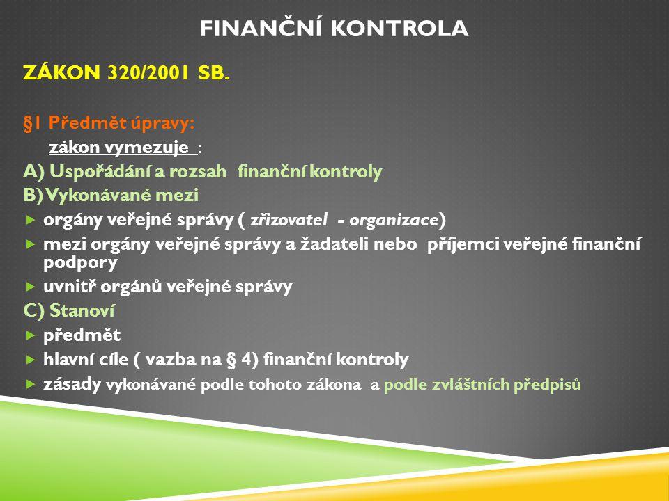 Finanční kontrola zákon 320/2001 Sb. §1 Předmět úpravy: