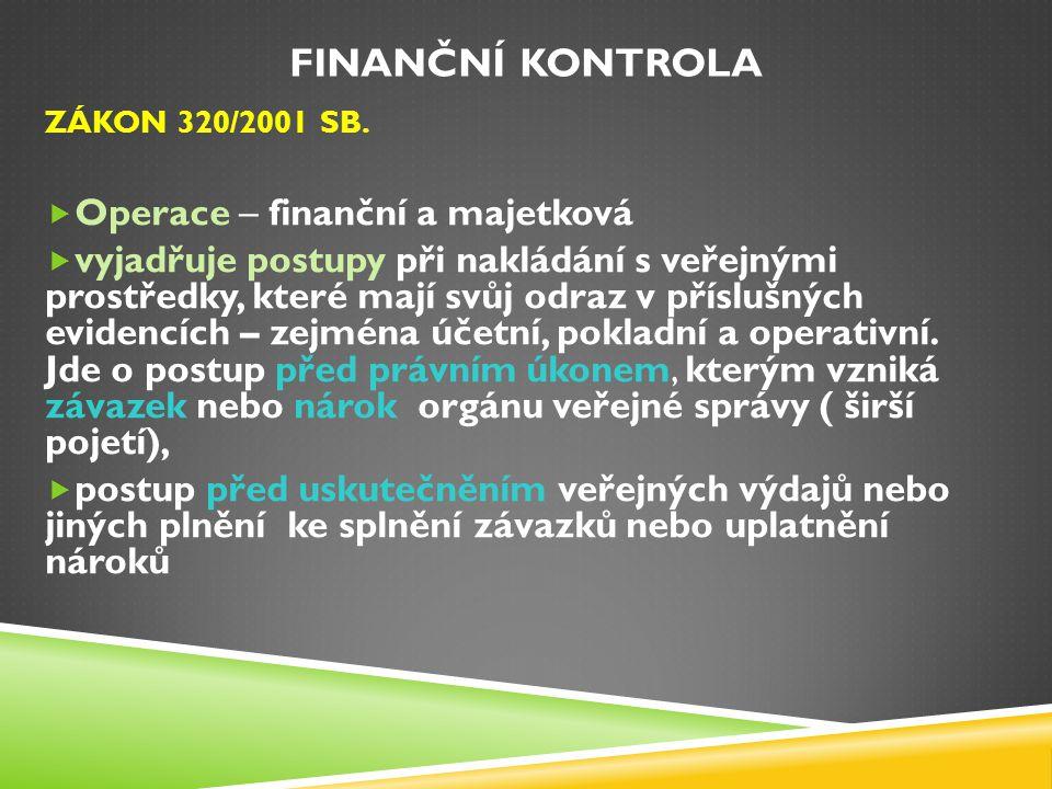 Finanční kontrola Operace – finanční a majetková