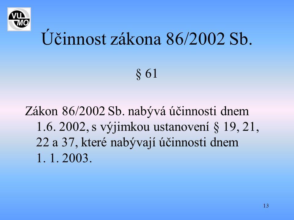 Účinnost zákona 86/2002 Sb. § 61.