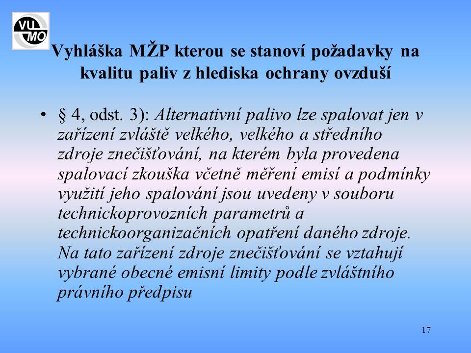 Vyhláška MŽP kterou se stanoví požadavky na kvalitu paliv z hlediska ochrany ovzduší