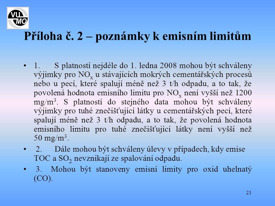 Příloha č. 2 – poznámky k emisním limitům