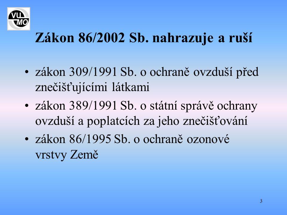 Zákon 86/2002 Sb. nahrazuje a ruší