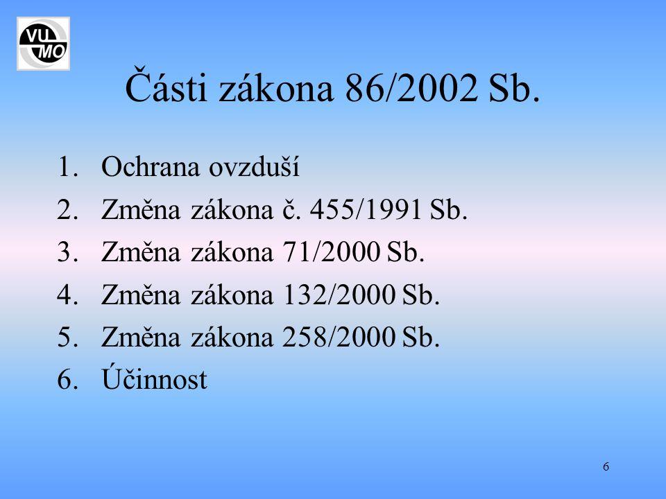Části zákona 86/2002 Sb. Ochrana ovzduší Změna zákona č. 455/1991 Sb.