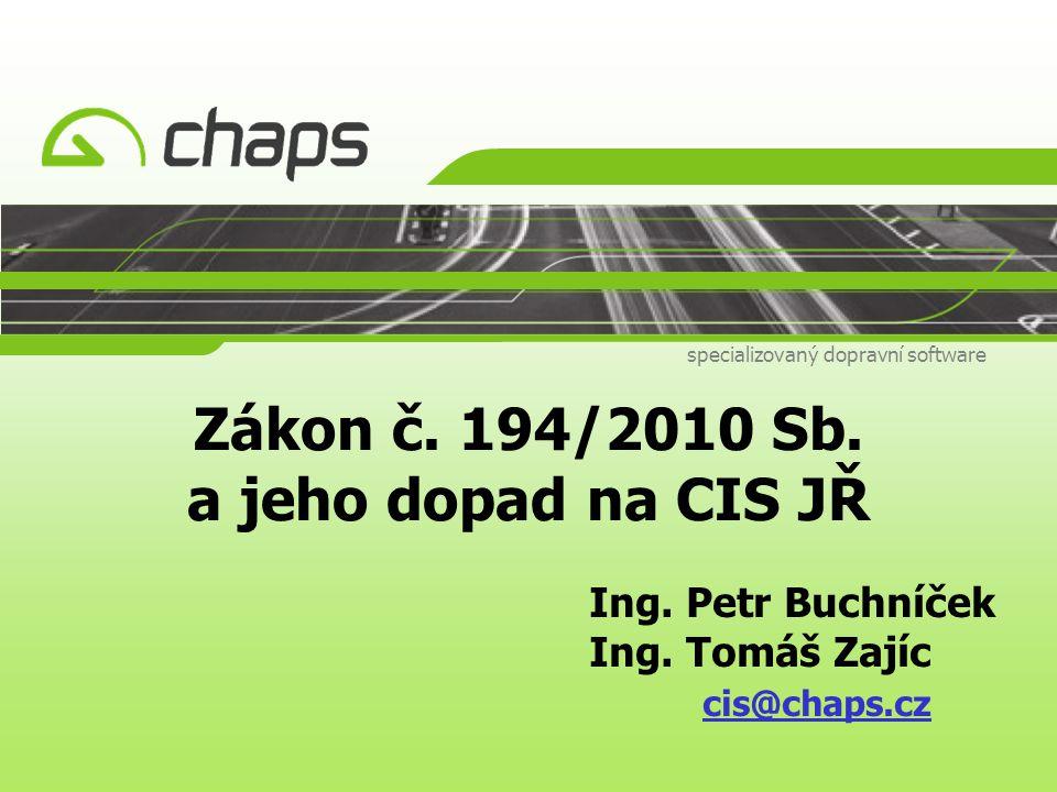 Zákon č. 194/2010 Sb. a jeho dopad na CIS JŘ