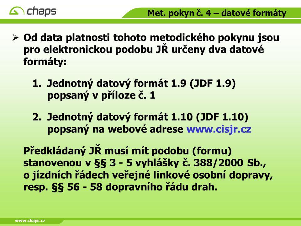 Met. pokyn č. 4 – datové formáty