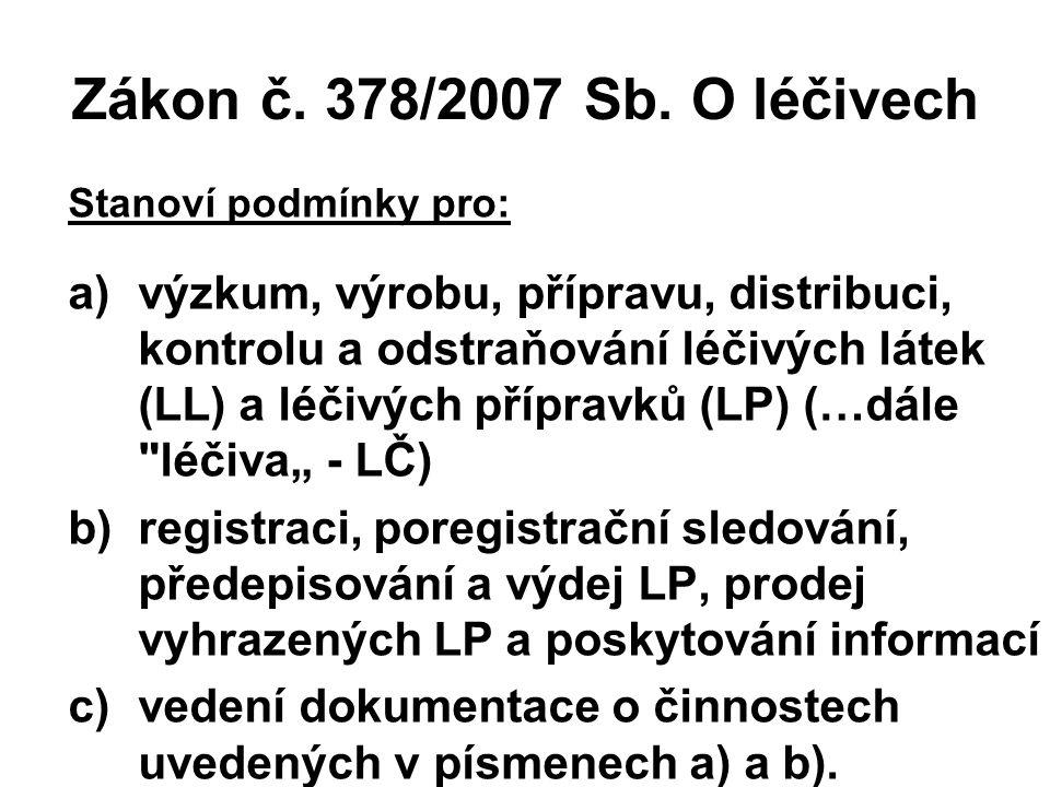 Zákon č. 378/2007 Sb. O léčivech Stanoví podmínky pro: