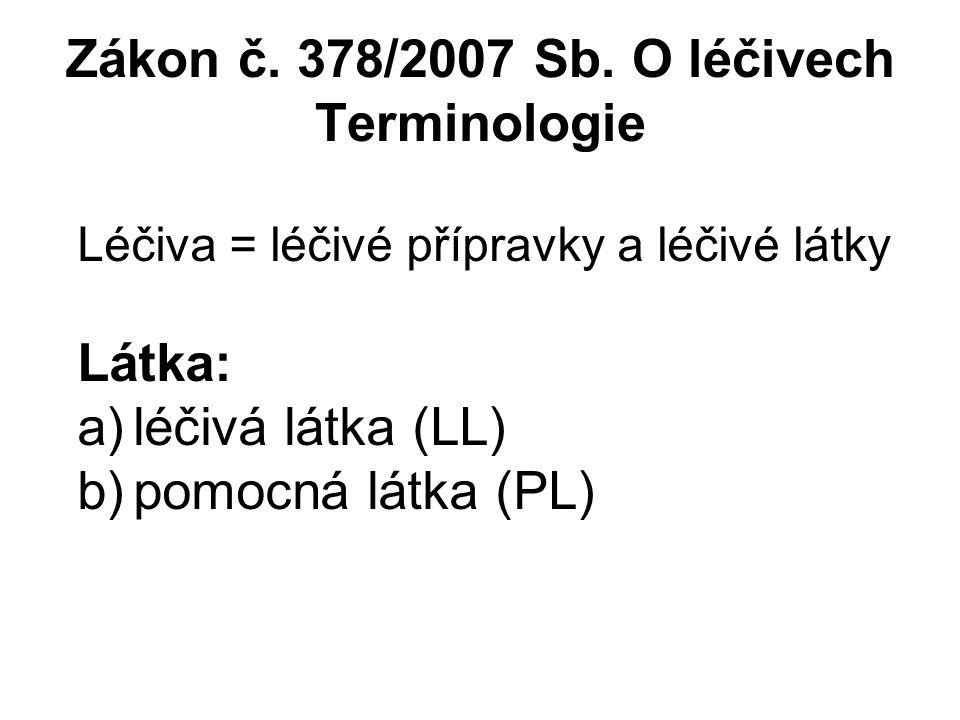 Zákon č. 378/2007 Sb. O léčivech Terminologie