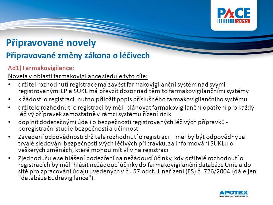 Připravované novely Připravované změny zákona o léčivech
