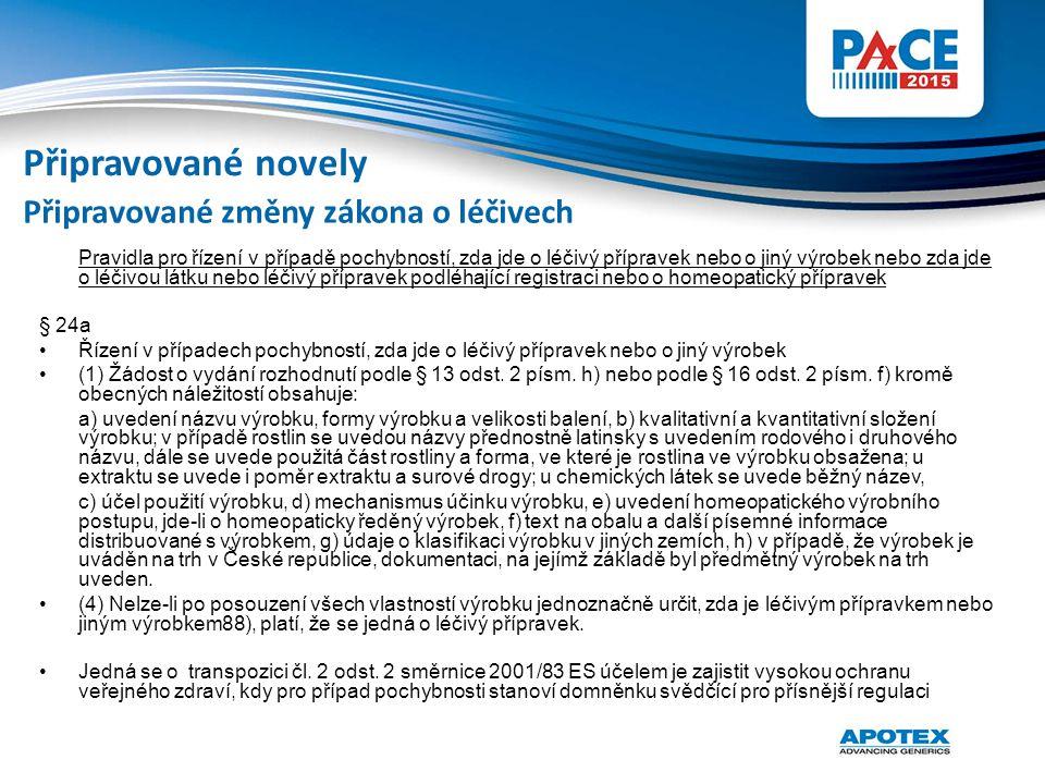 Připravované novely Připravované změny zákona o léčivech § 24a