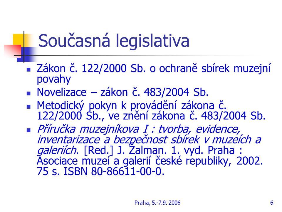 Současná legislativa Zákon č. 122/2000 Sb. o ochraně sbírek muzejní povahy. Novelizace – zákon č. 483/2004 Sb.