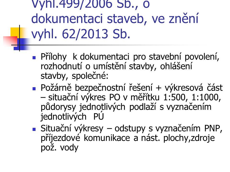 Vyhl.499/2006 Sb., o dokumentaci staveb, ve znění vyhl. 62/2013 Sb.