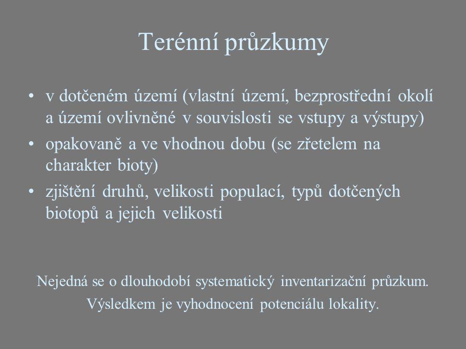 Terénní průzkumy v dotčeném území (vlastní území, bezprostřední okolí a území ovlivněné v souvislosti se vstupy a výstupy)