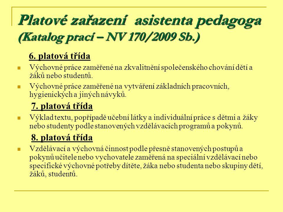 Platové zařazení asistenta pedagoga (Katalog prací – NV 170/2009 Sb.)